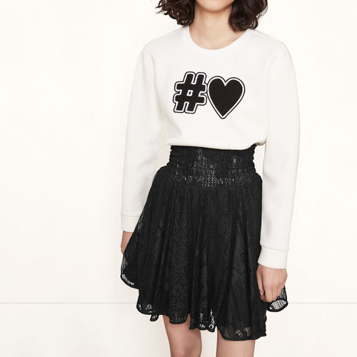 Falda corta de encaje con fruncidos : Faldas y shorts color Negro