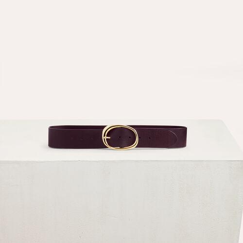 Ancho cinturón de cuero : Cinturones color Burdeos