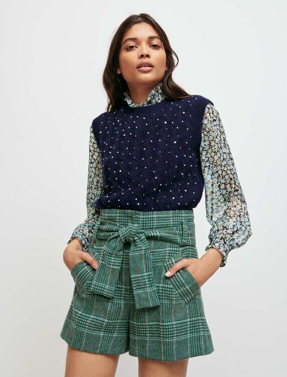 Short de cuadros con cinturón - Faldas y shorts - MAJE
