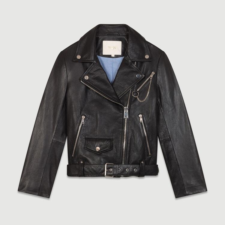 Cazadora de cuero estilo biker : Cazadoras color Negro