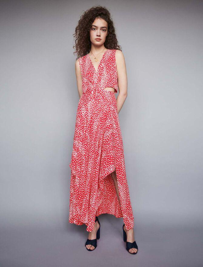 Vestido largo anudado estampado Jacquard - Vestidos - MAJE