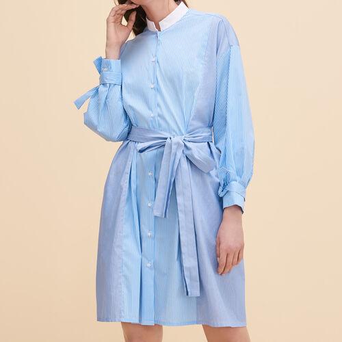Vestido camisero a rayas : Vestidos color Azul