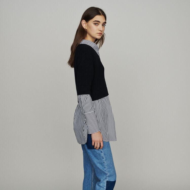 Jersey corto con blusa trompe l'œil : Jerseys y cárdigans color Negro