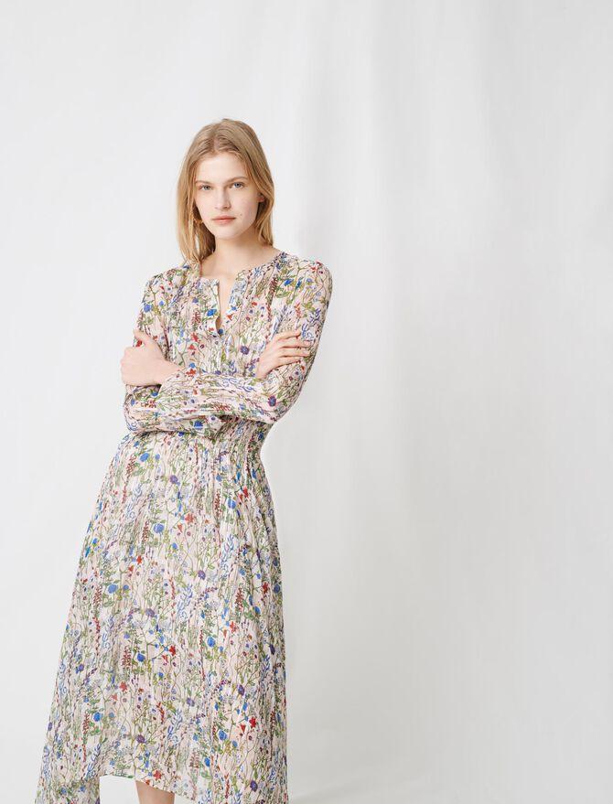 Vestido largo asimétrico de flores -  - MAJE