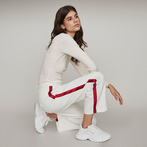 Pantalón ancho con bandas a contraste : Pantalones y Jeans color Crudo