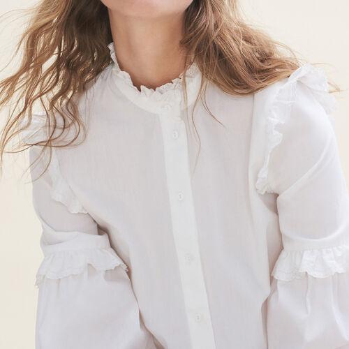 Camisa de popelina con volantes - Camisas - MAJE