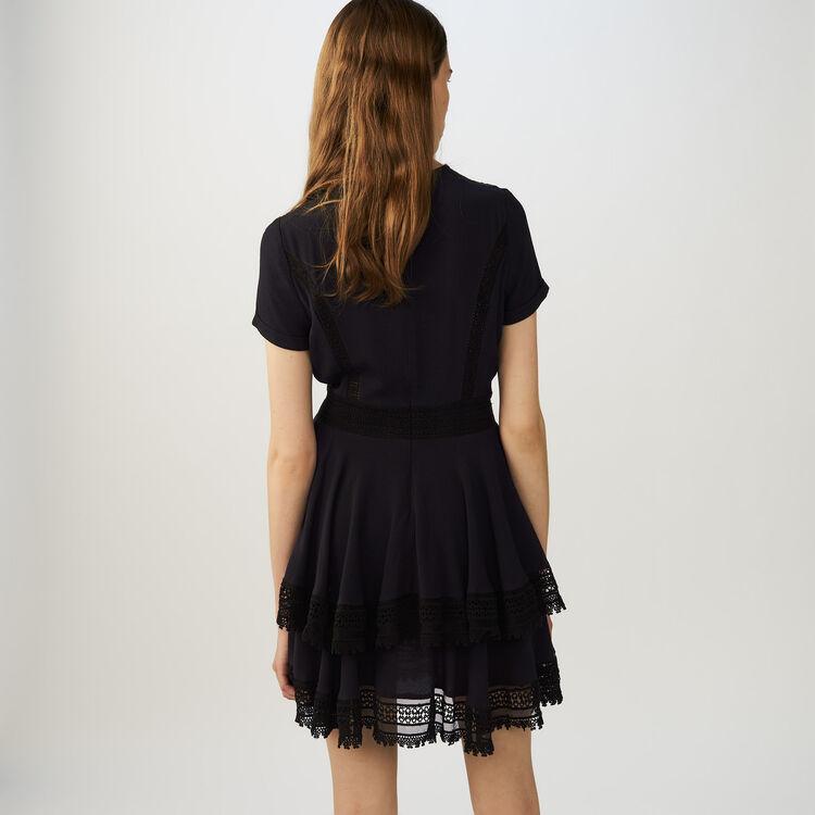 Vestido con detelles de encaje : Vestidos color Azul Marino