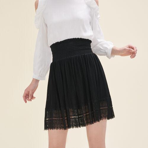 Falda plisada con plumetis y encaje : Faldas y shorts color Negro