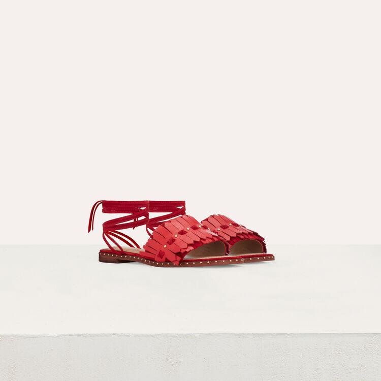 Sandalias planas con lazos de cuero : Zapatos planos color Rojo