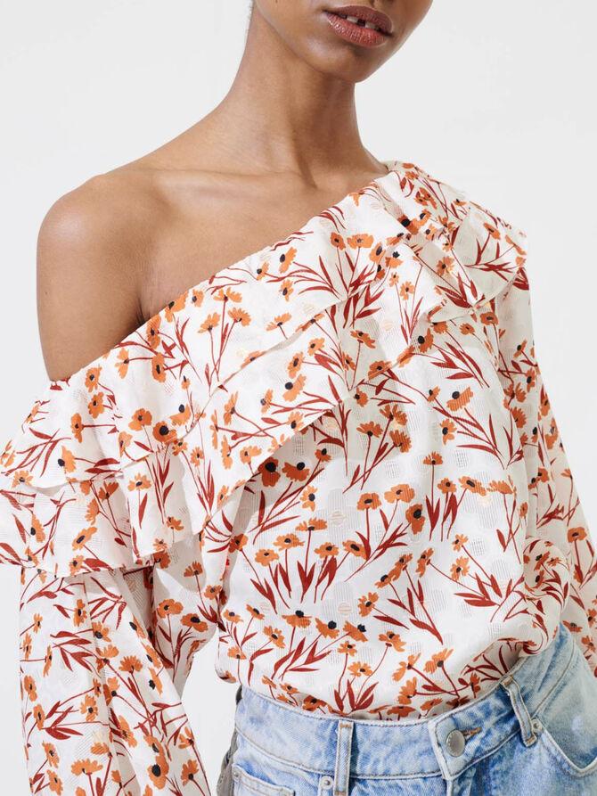 Top floral con hombro descubierto - Tops y Camisas - MAJE