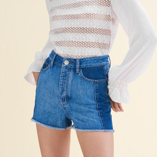 Short de denim estilo patchwork : Faldas y shorts color Azul