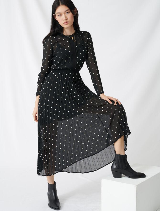Vestido largo plisado con bordados - Vestidos - MAJE