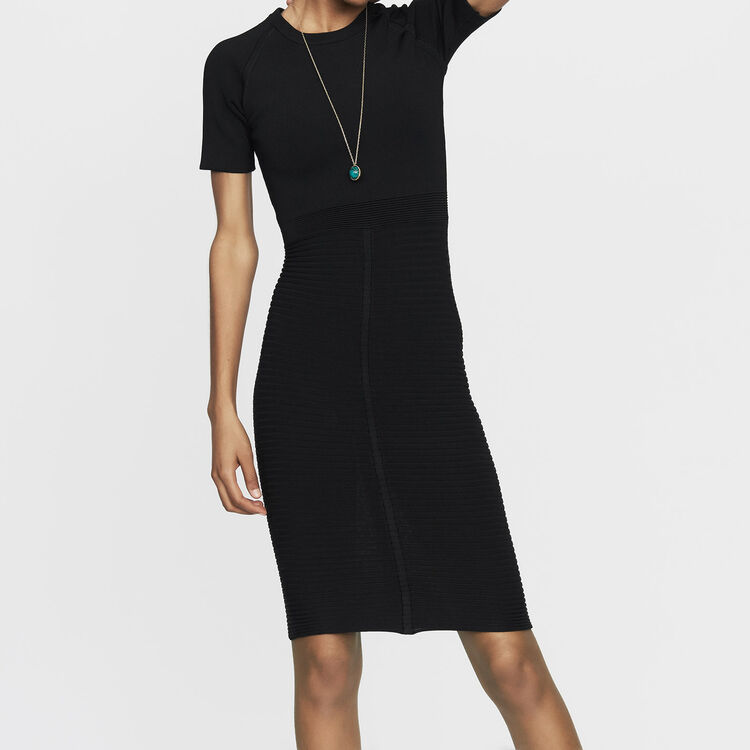 Vestido de punto stretch : Vestidos color Negro