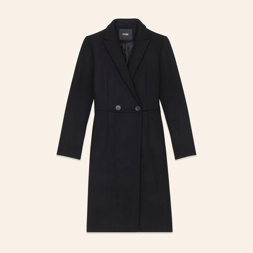 Levita de largo medio de lana : Abrigos color Negro
