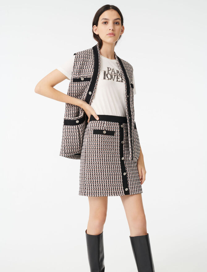 Falda tipo tweed de lúrex - Faldas y shorts - MAJE