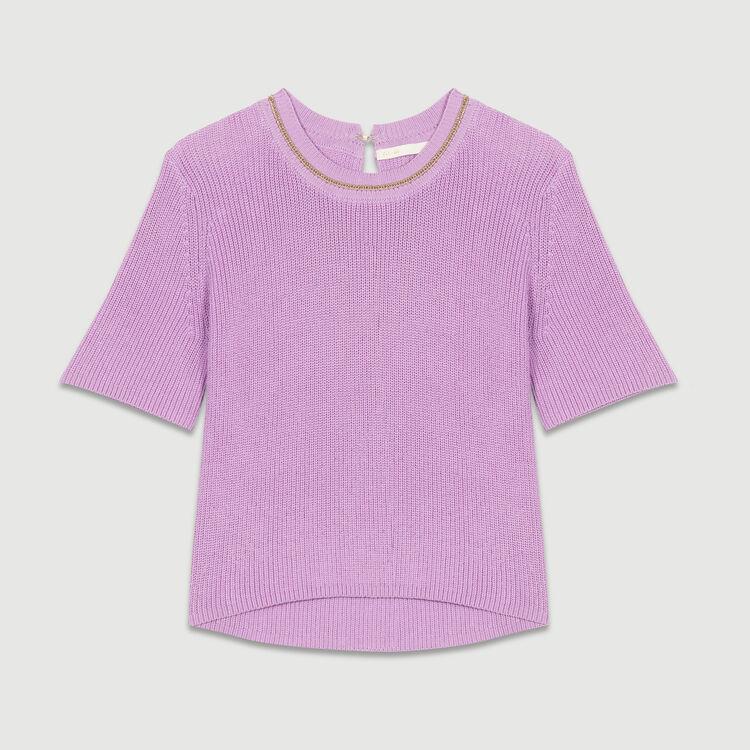 Jersey de punto con mangas cortas : Malla color LILAS