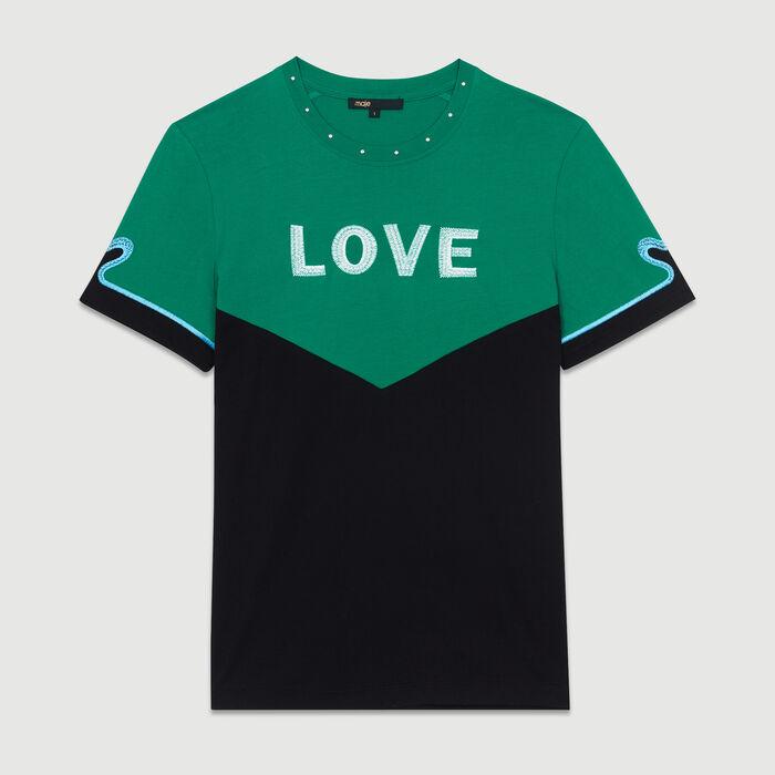 Camiseta bicolor con bordado : Nueva Colección color Multicolor