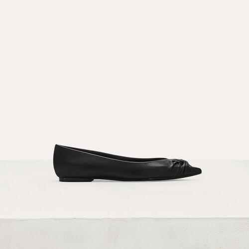 Zapatos salón planos con drapeado : Zapatos planos color Negro