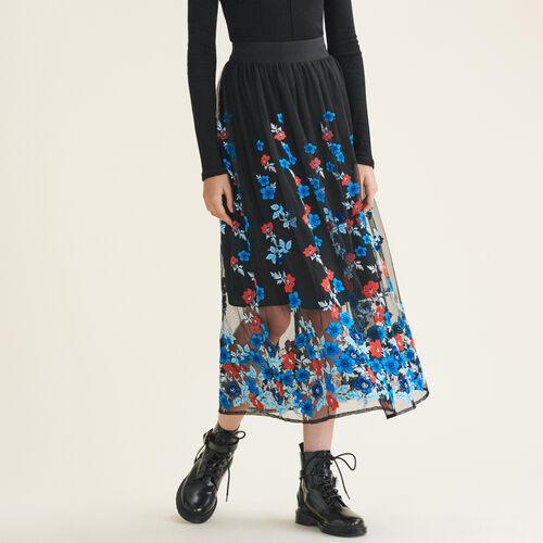Falda larga con bordados florales - Faldas y shorts - MAJE