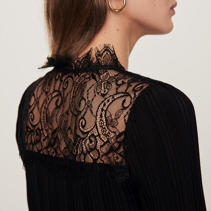 Top plisado con incrustaciones en encaje : Tops y Camisas color Negro