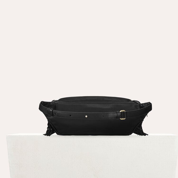 Riñonera de cuero y detalles acolchados : Otras M color Negro