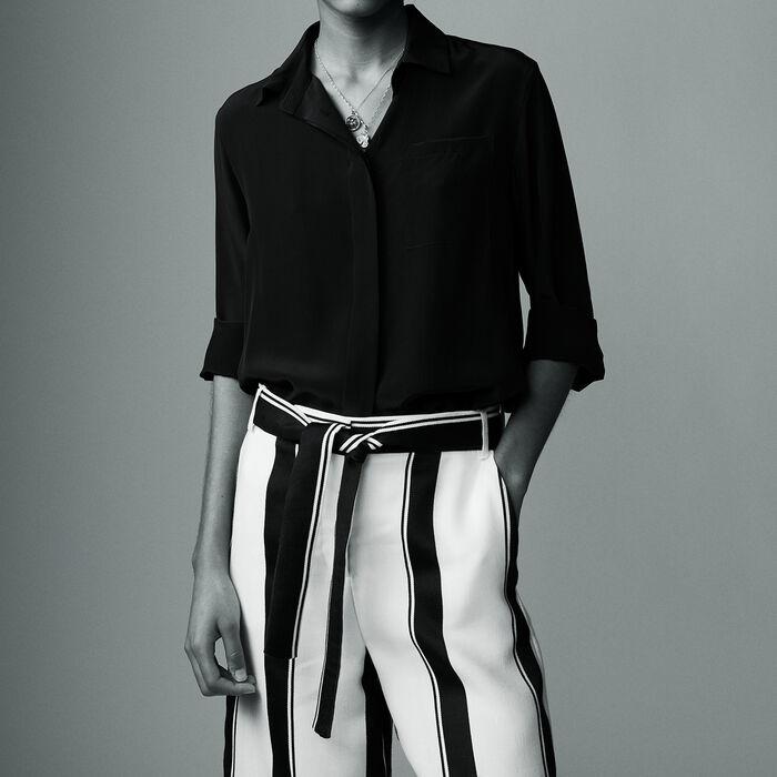 Blusa de seda : Camisas color Negro