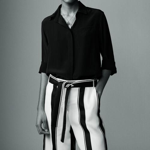 Silk shirt : Camisas color Negro