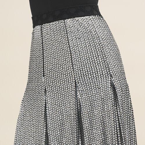 Falda de largo medio de lentejuelas : Faldas y shorts color Plateado