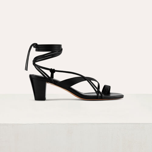 Sandalia anudada con pequeño tacón : Zapatos de tacón color Negro