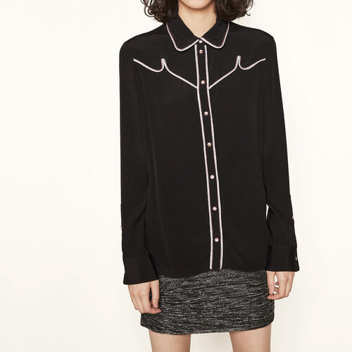 Camisa con detalles ribeteados : Tops color Negro