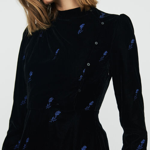 Vestido de terciopelo bordado : Vestidos color Negro
