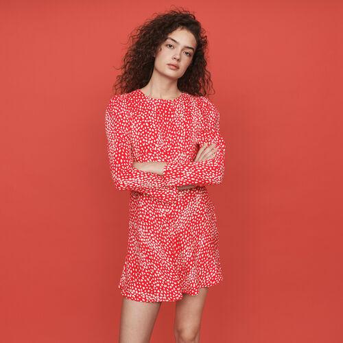 Vestido fruncido estampado en Jacquard : Vestidos color Rojo