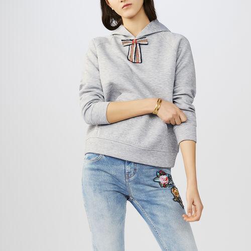 Sudadera con capucha y lazo extraíble : Malla color Gris