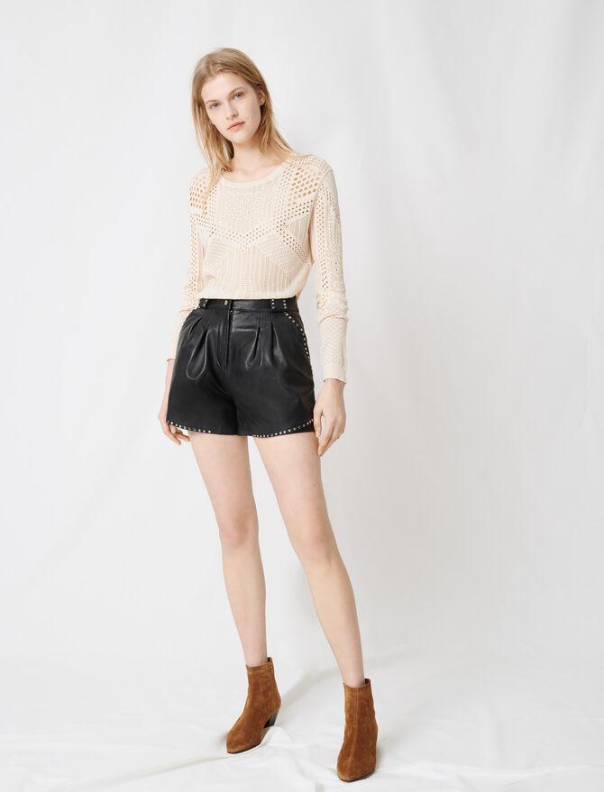 Short de piel con tachuelas - Faldas y shorts - MAJE