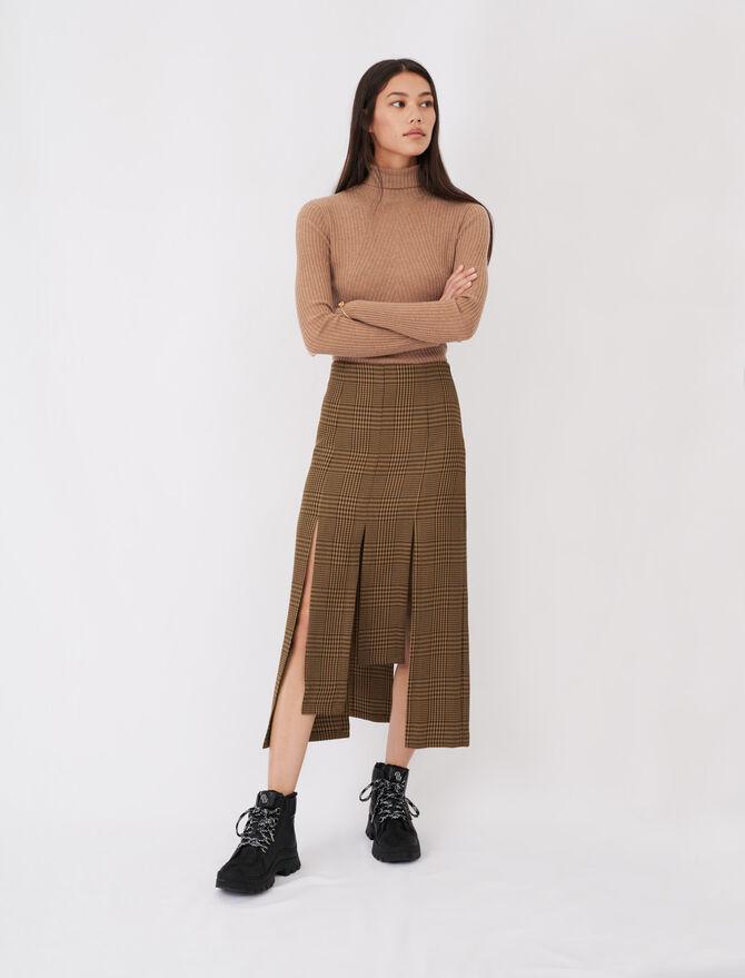Falda asimétrica con tablas y cuadros - Faldas y shorts - MAJE