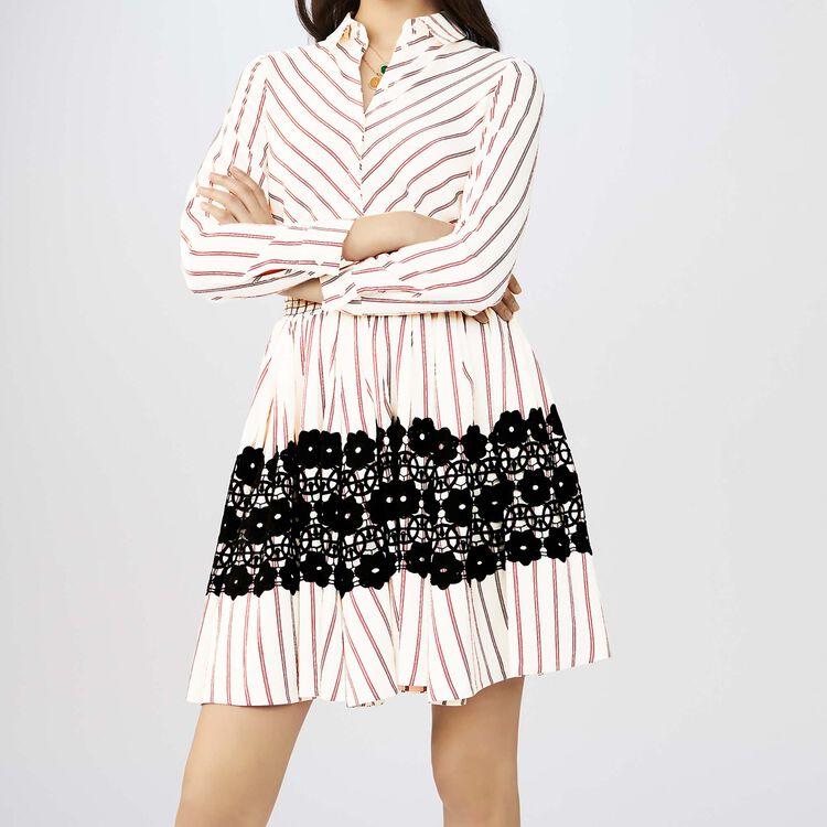 Vestido camisero rayado con guipur : Vestidos color Rayas