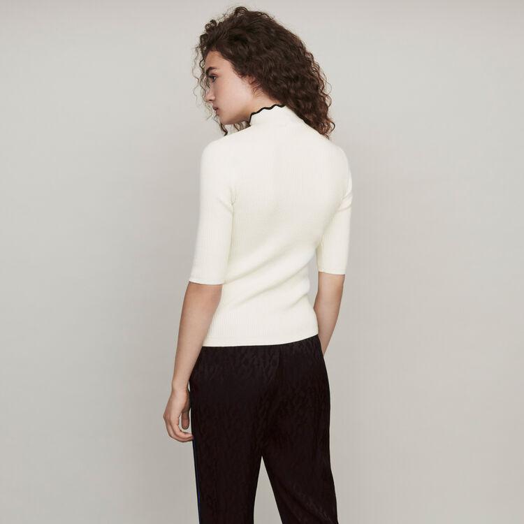 Pantalón fluido en Jacquard de raso : Pantalones y Jeans color Negro