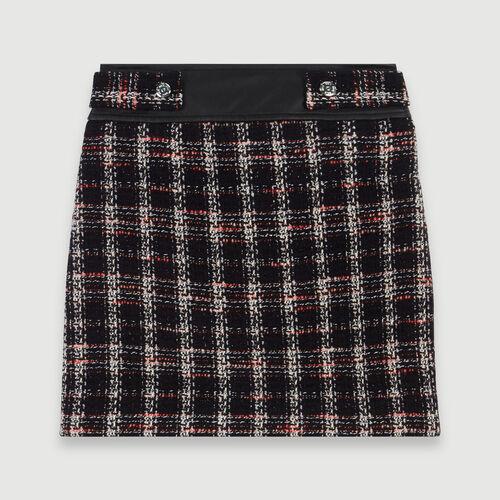 Falda recta tipo tweed a contraste : Colección invierno color Negro