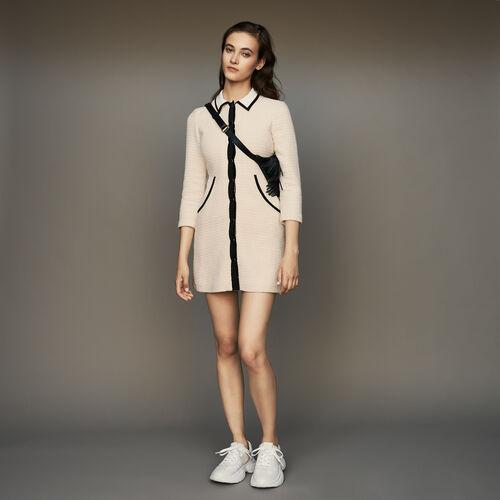 Vestido corto en algodon efecto tweed : Vestidos color Crudo