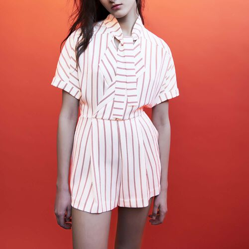 Striped playsuit : Faldas y shorts color Rayas