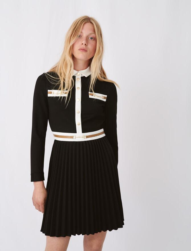 Vestido de crepé detalles en contraste - Vestidos - MAJE