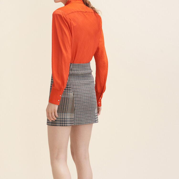 Top vaporoso con cuello oficial : Tops color Naranja