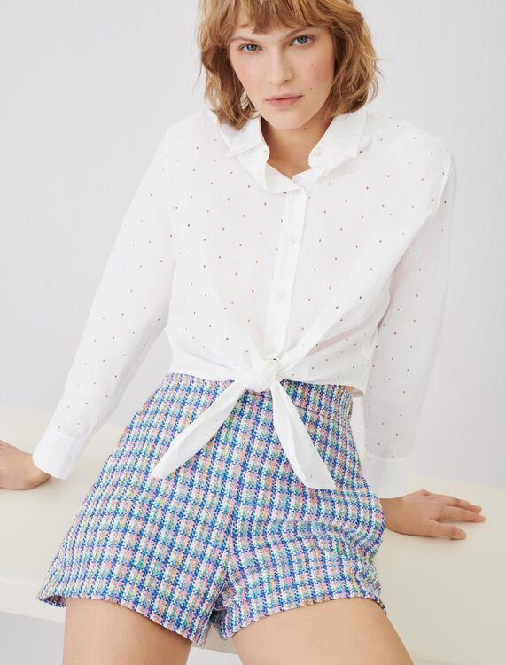 Camisa para anudar de popelina bordada - Tops y Camisas - MAJE