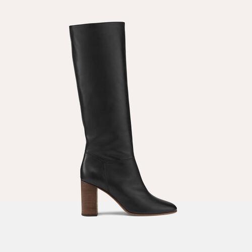 Bota de piel lisa : Zapatos color Negro