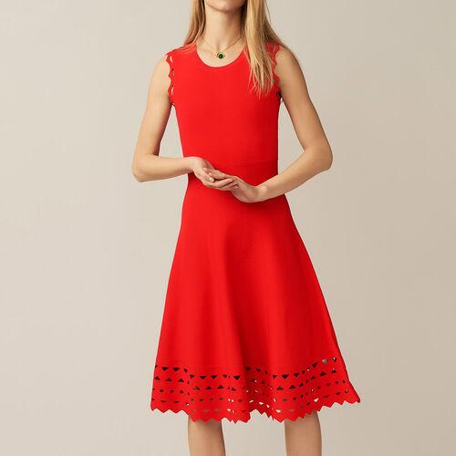 Vestido de punto calado : Vestidos color ROUGE