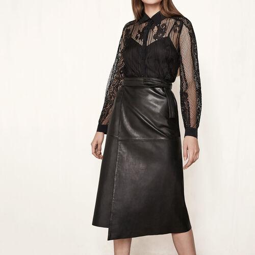 Falda con faldón de piel : Faldas y shorts color Negro