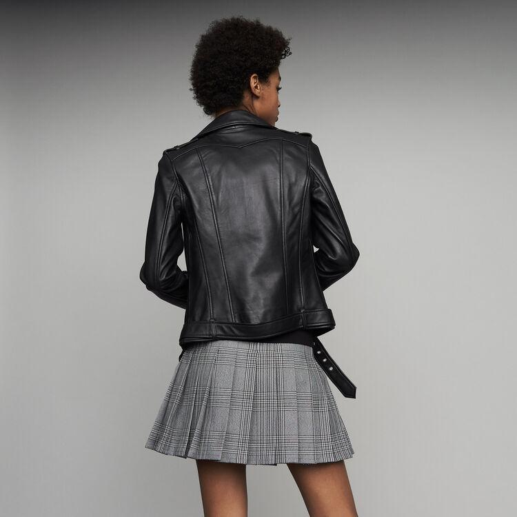 Chaqueta de cuero Bubble con cinturón : Nueva Colección color Negro