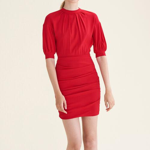 Vestido drapeado de doble género : Vestidos color Rojo