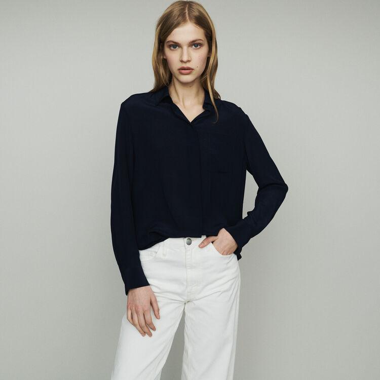 Blusa de seda : Tops y Camisas color Azul Marino