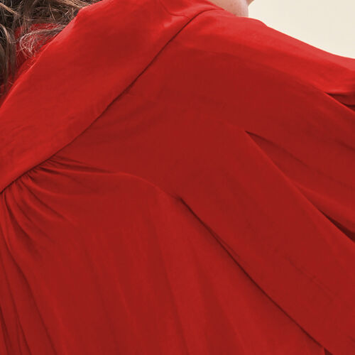 Camisa vaporosa de crepé : Tops color Rojo